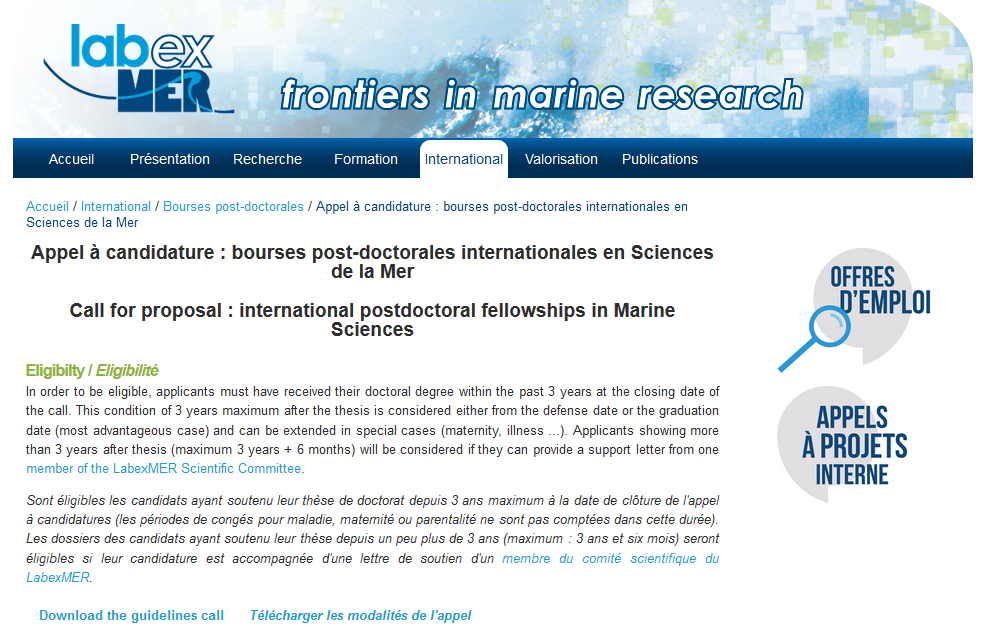 Call for proposal : international postdoctoral fellowships in Marine Sciences