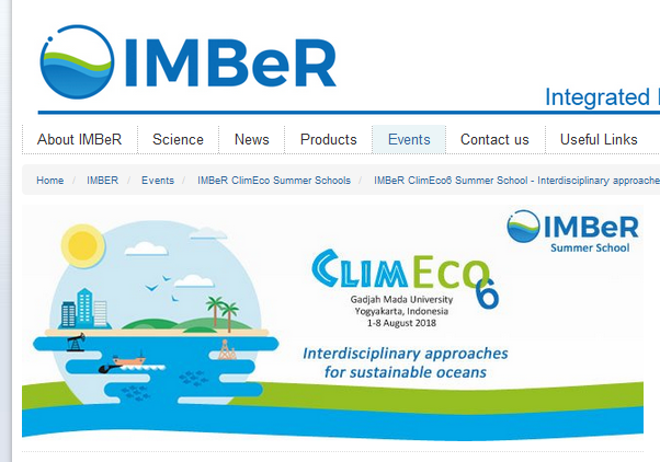 IMBeR ClimEco6 Summer School - Interdisciplinary approaches for sustainable oceans