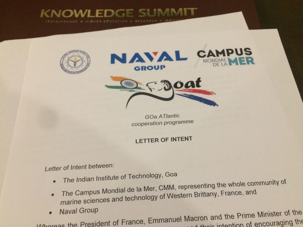 A letter of intent has been signed between Campus mondial de la mer, Naval Group and the brand new Indian Institute of Technology Goa, India.