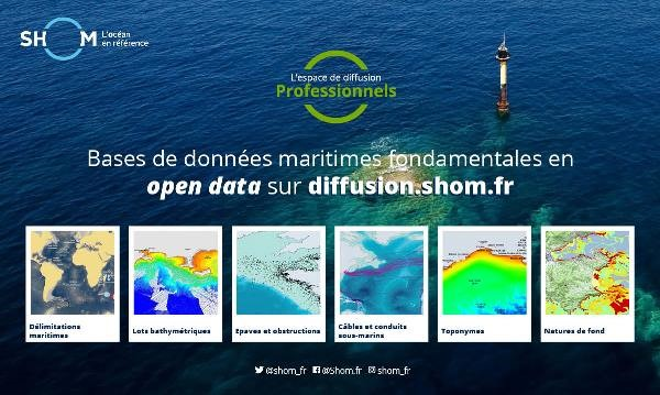 Extension de l'offre Shom en open data sous licence Creative Commons CC-BY-SA 4.0.