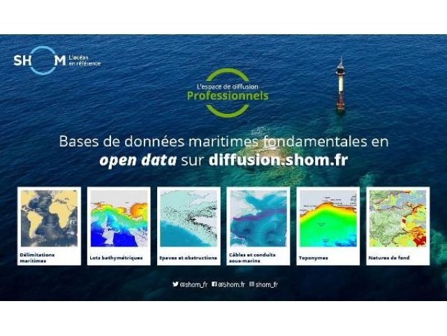 Maritime data (Bathymetry, sedimenthology, ...) are now available for free (open data creative commons licence).